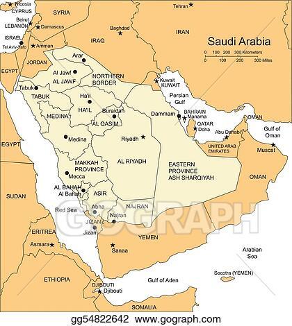 EPS Illustration Saudi arabia administrative districts capitals