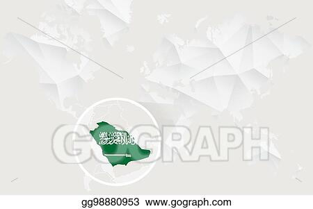 EPS Illustration - Saudi arabia map with flag in contour on ...
