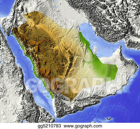 Topographic Map Of Saudi Arabia.Stock Illustration Saudi Arabia Shaded Relief Map Clip Art