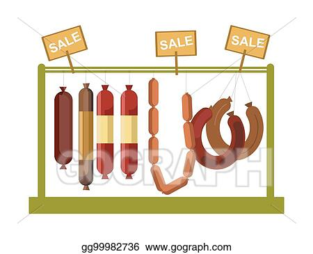 Vector Stock Sausages Counter Display Or Butcher Shop Meat