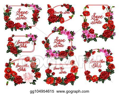 Vector Art - Save the date flower frame for wedding invitation ...