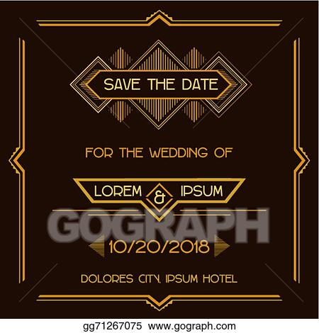 Vector Clipart Save The Date Wedding Invitation Card Art Deco
