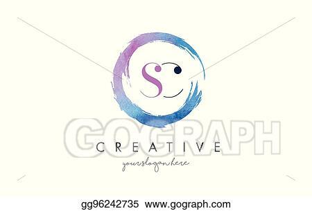 Vector Stock Sc Letter Logo Circular Purple Splash Brush