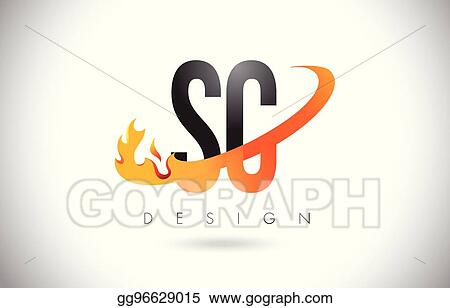 Vector Art Sc S C Letter Logo With Fire Flames Design And