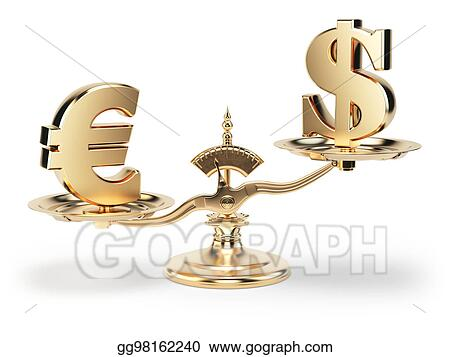 Drawing Scale With Symbols Of Currencies Euro And Us Dollar
