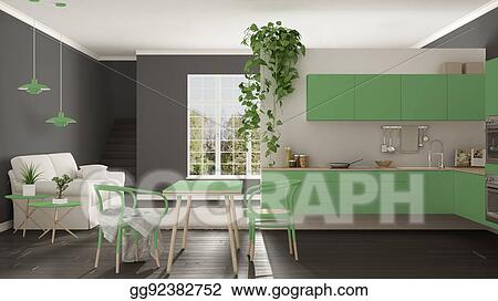 Scandinavian Green Minimalist Living With Kitchen, Open Space, One Room  Apartment, Modern Interior Design