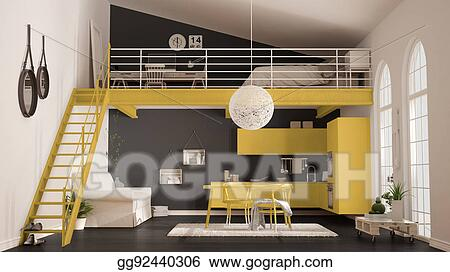 Stock Illustration Scandinavian Minimalist Loft One Room Apartment With Yellow Kitchen Living And Bedroom Classic Interior Design Clipart Gg92440306 Gograph