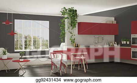 Stock Illustration Scandinavian Red Minimalist Living With Kitchen