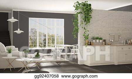 Stock Illustration Scandinavian White And Gray Minimalist Living
