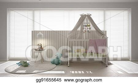 Scandinavian white child bedroom with canopy crib minimal interior design  sc 1 st  GoGraph & Stock Illustrations - Scandinavian white child bedroom with canopy ...