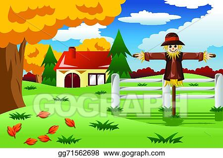vector illustration scarecrow in the fall season eps clipart rh gograph com fall season clipart black and white Seasons Clip Art
