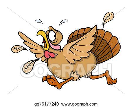 vector illustration scared turkey bird running stock clip art rh gograph com Turkey Clip Art free scared turkey clipart