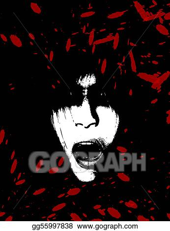 Stock Illustrations Scary And Bloody Creepy Women Face Stock
