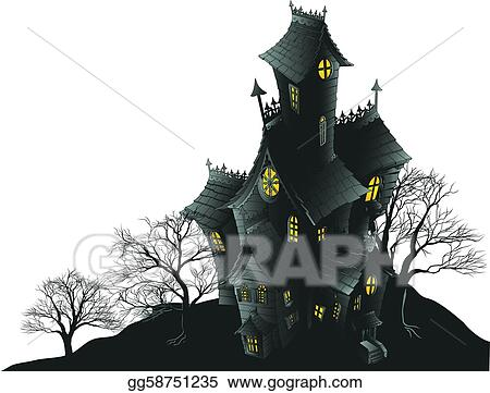 vector stock scary haunted house and trees illus stock clip art rh gograph com Scared Ghost Clip Art White Ghost Clip Art