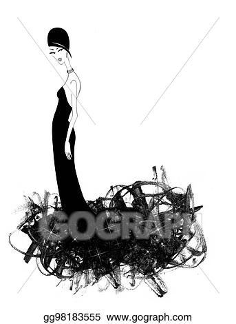 Clipart Schick Junge Frau In A Schwarz Abendkleid Stock Illustration Gg98183555 Gograph