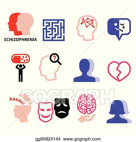 Vector Stock Schizophrenia Mental Health Psychology Vector Icons