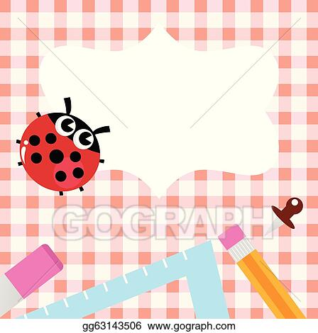 Vector Art - School blank banner with ladybug and accessories