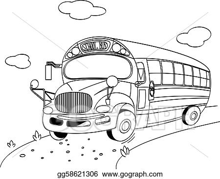 Vector Illustration - school bus coloring page. EPS Clipart ...
