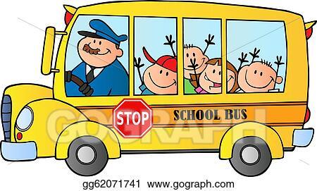 School bus kid. Vector art with happy