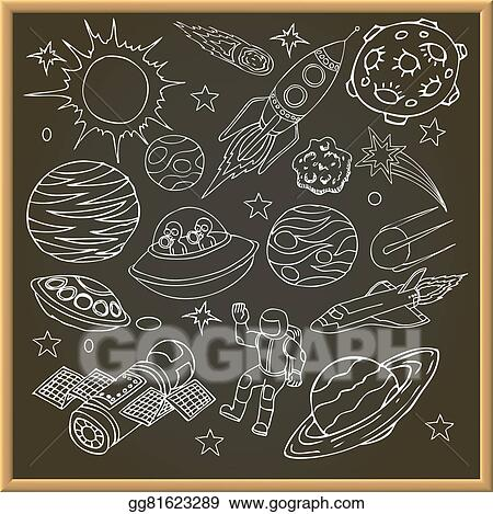 Vector Art School Chalk Board With Outer Space Doodles Symbols