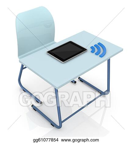 Stock Illustration   School Desk With Tablet. Clipart ...