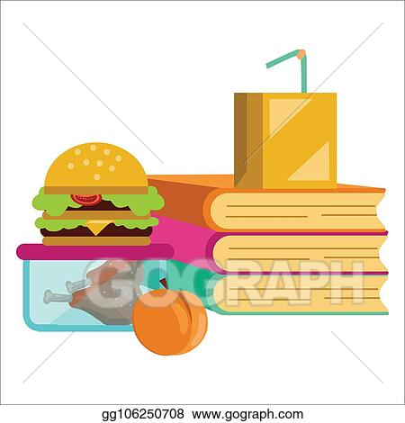 Vector Illustration - School lunch poster, children dinner near pile