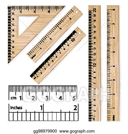 Vector Art - School rulers vector  realistic classic wooden