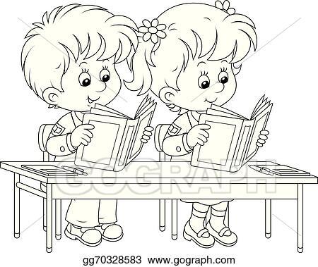 Eps Illustration Schoolchildren Read At A Lesson Vector Clipart