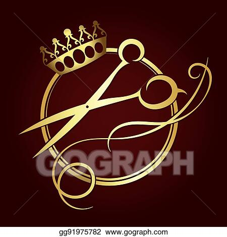Clip Art Vector Scissors And A Crown Of Gold Color Symbol Stock