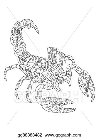 EPS Vector - Scorpion coloring vector for adults. Stock ...