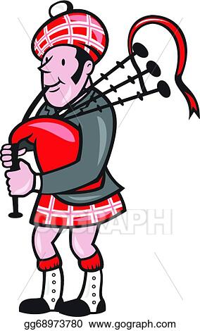 vector illustration scotsman bagpiper bagpipes cartoon stock clip rh gograph com bagpipes clipart bagpipes clipart free