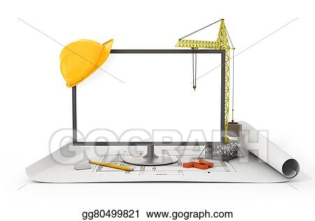Stock illustration screen tower crane helmet and construction screen tower crane helmet and construction tools on the blueprint malvernweather Images