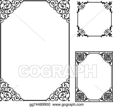 Vector Illustration - Scroll frames . Stock Clip Art gg74489950 ...