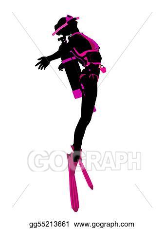 stock illustration scuba diving illustration silhouette clipart