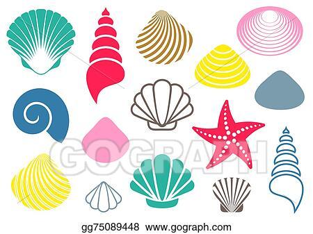vector stock sea shells clipart illustration gg75089448 gograph rh gograph com shells clip art transparencies shells images clip art