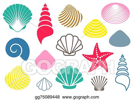 vector stock sea shells clipart illustration gg75089448 gograph rh gograph com shell clip art images shells clipart free download