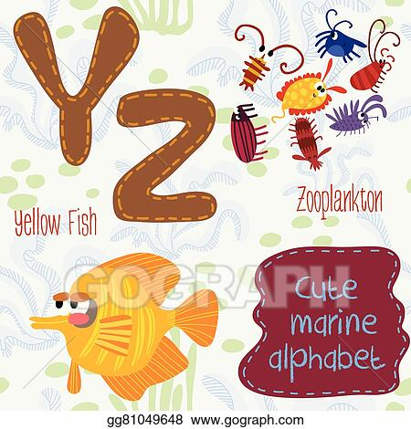 EPS Vector - Sea very cute alphabet  marine set in vector  y and z