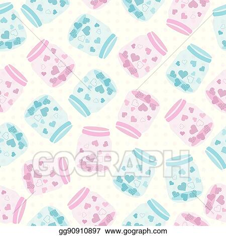 vector stock seamless background of valentine illustration with cute blue and pink bottle of love on polka dot background clipart illustration gg90910897 gograph vector stock seamless background of