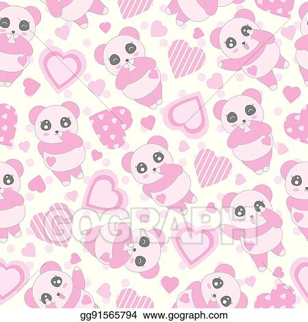 vector illustration seamless background of valentine s day illustration with cute baby pink panda and love shape on polka dot background stock clip art gg91565794 gograph https www gograph com clipart license summary gg91565794