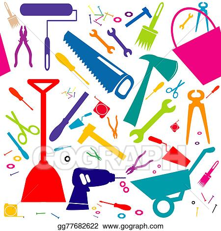 Stock Illustration Seamless Background With Diy Tools Or Home