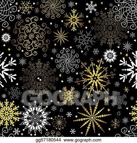 Vector Art Seamless Black Christmas Wallpaper Eps Clipart