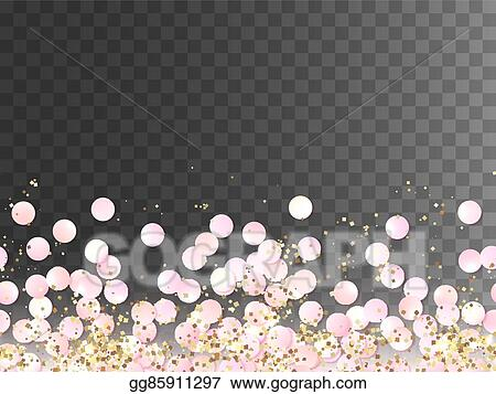 clip art vector seamless border of pink realistic confetti and