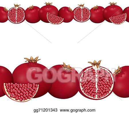 Vector Stock - Seamless border of pomegranate. Clipart ...