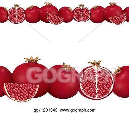 Vector Stock - Seamless border of pomegranate. Clipart ...