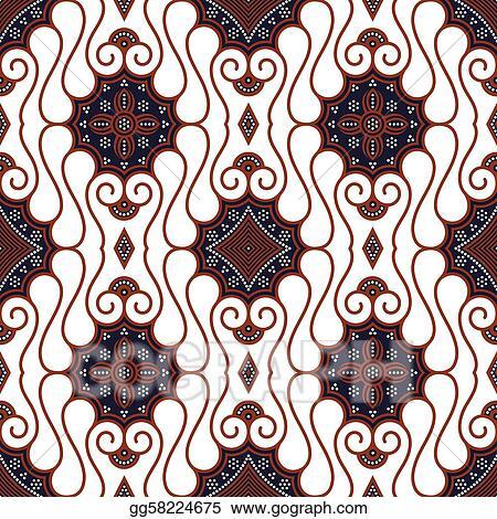 Vector Art Seamless Brown White Batik Pattern EPS Clipart Gorgeous Batik Pattern