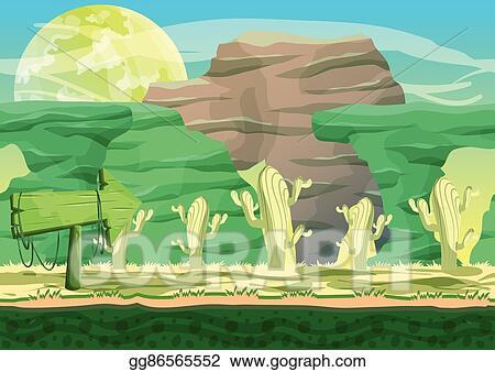 Vector Stock Seamless Cartoon Vector Desert Background With