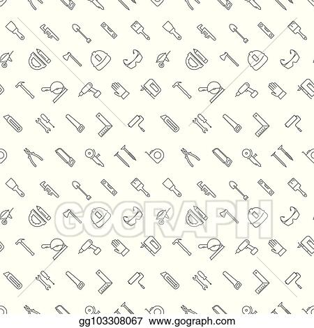 Vector Clipart - Seamless construction tools icons pattern