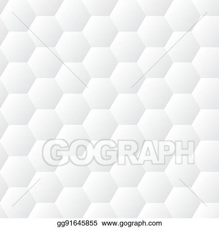 Seamless Dented Hexagons White Wall Texture Honeycomb Background Vector Pattern