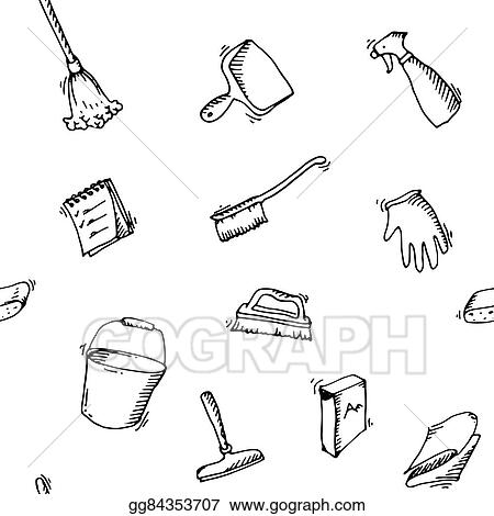 vector stock seamless doodle pattern of house cleaning icons Washing Dishes Clip Art Black and White vector stock seamless doodle pattern of house cleaning icons clean symbols tools detergent broom sponge mop dust pan brush bleach duster