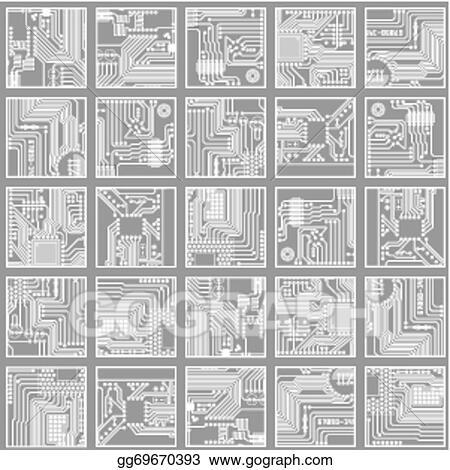 Vector Art - Seamless electronic pattern. computer circuit board ...